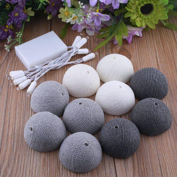 Guirnalda de luz algodón 10 bolas gris y blanco 01