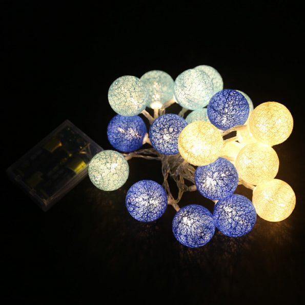 guirnalda luces de algodón azules y blancas