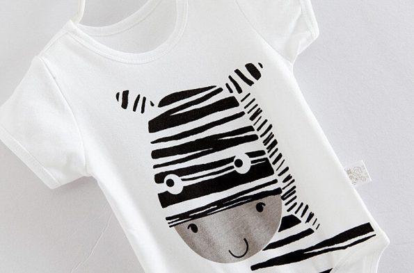 Body algodón dibujo animales zebra