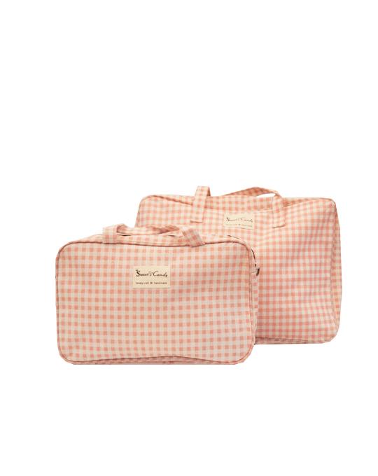 conjunto de bolsas a cuadros rosa