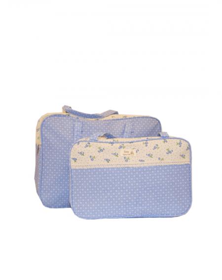 conjunto bolsas flores azules