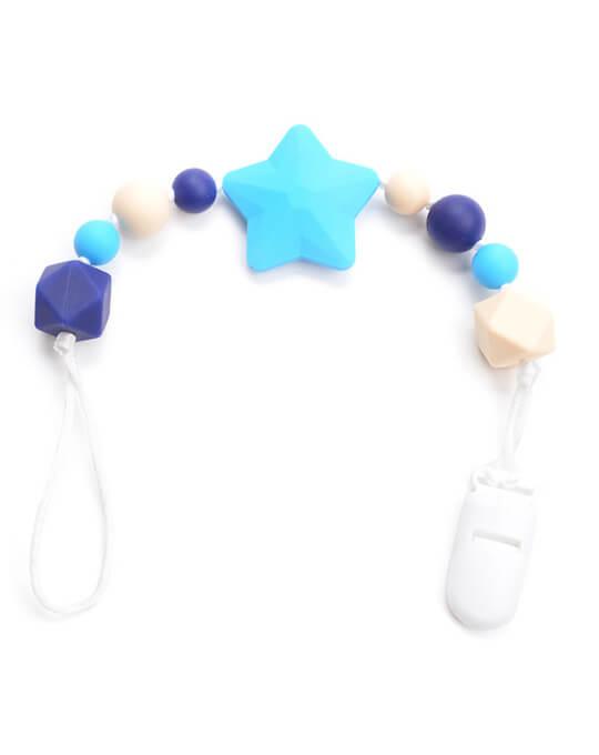 Chupetero mordedor estrella azul
