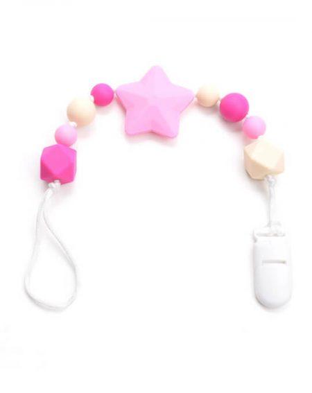 Chupetero mordedor estrella rosa