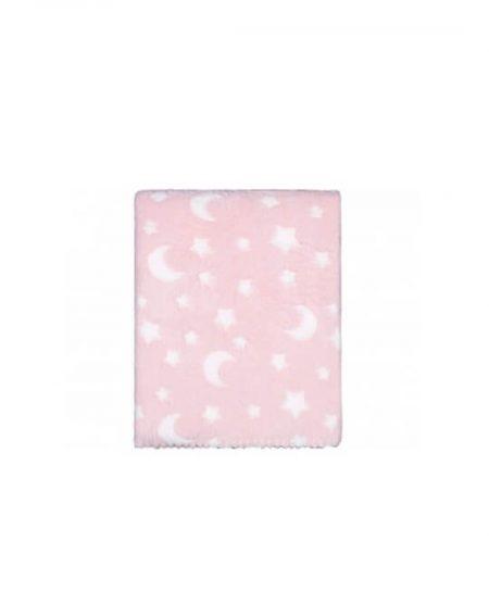 manta coralina rosa de estrellas y lunas