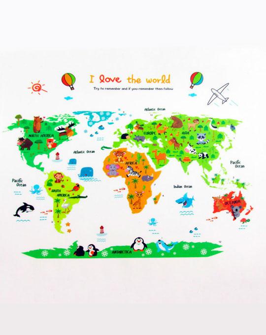 vinilo infantil decorativo mapa mundial